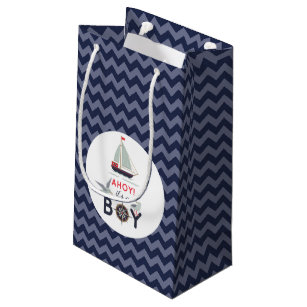 Ahoy! It's A Boy Sailboat Nautical Baby Shower Small Gift Bag