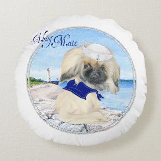 Ahoy Little Sailor Peke Round Cushion
