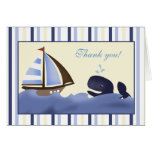 Ahoy Mate Blue Whale Folded Thank you note Greeting Cards
