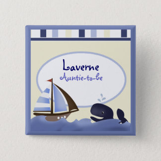 AHOY MATE Blue Whale Sailboat Personalized 15 Cm Square Badge