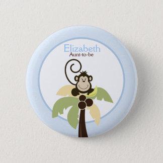 Ahoy Mate Monkey Palm Tree NAME TAG Custom Button