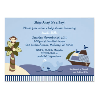 Ahoy Mate Nautical Baby Shower Invitation