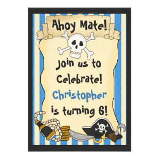 Ahoy Mate Pirate Birthday Invitation for Boys