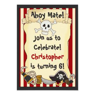 Ahoy Mate! Pirate Boys Birthday Party 13 Cm X 18 Cm Invitation Card