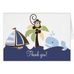 Ahoy Mate Whale & Monkey Thank you Card