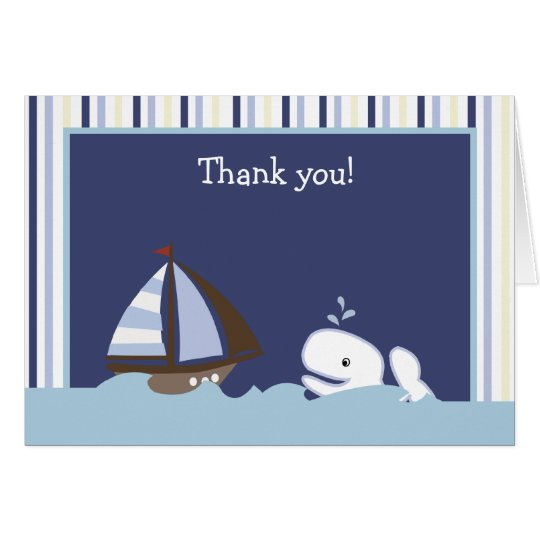 AHOY MATE White Whale Folded Thank you note Note Card