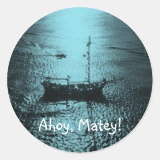Ahoy Matey envelope seals blue Round Sticker