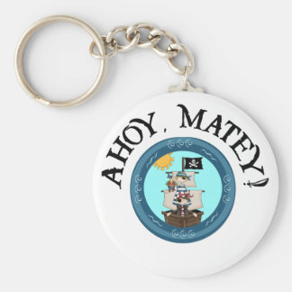 Ahoy Matey Key Fob Basic Round Button Key Ring