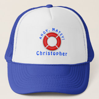 Ahoy Matey Personalized Life Ring Trucker Hat