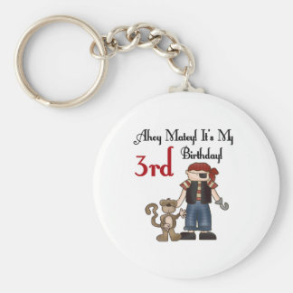 Ahoy Matey Pirate 3rd Birthday Tshirts and Gifts Basic Round Button Key Ring