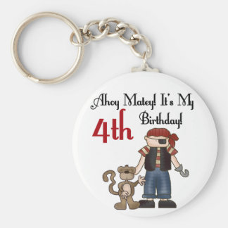 Ahoy Matey Pirate 4th Birthday Tshirts and Gifts Basic Round Button Key Ring