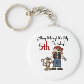Ahoy Matey Pirate 5th Birthday Basic Round Button Key Ring