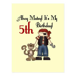 Ahoy Matey Pirate 5th Birthday Postcard