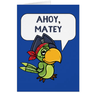 Ahoy Matey Pirate Parrot Cartoon Greeting Card