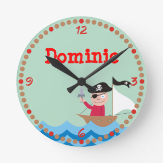Ahoy Matey! Pirate Personalized Kids Wall Clocks