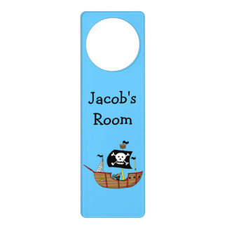 ahoy matey pirate ship - just add name door hanger
