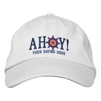 AHOY! Nautical Greetings Embroidery Embroidered Hat