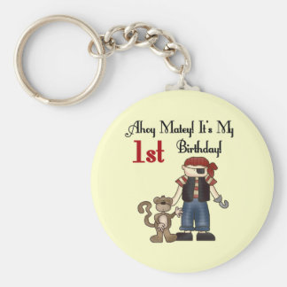 Ahoy Pirate First Birthday Tshirts and Gifts Basic Round Button Key Ring