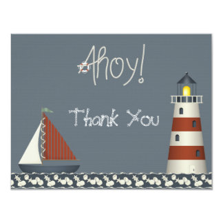Ahoy Sail Boat & Lighthouse Thank You Note Cards 11 Cm X 14 Cm Invitation Card