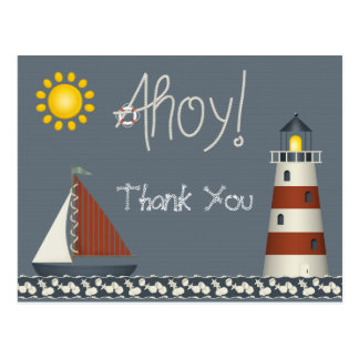 Ahoy Sail Boat & Lighthouse Thank You Postcard