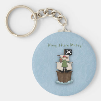 Ahoy There Matey Pirate Party Key Chain