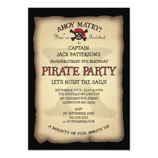 Ahoy Treasure Map Pirate Birthday Party Invitation