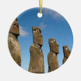 Ahu Akivi, Rapa Nui, Easter Island, Chile 2 Round Ceramic Decoration