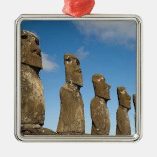 Ahu Akivi, Rapa Nui, Easter Island, Chile 2 Silver-Colored Square Decoration