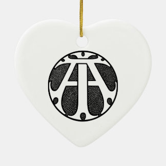 AI Coin Monogram in Gothic Letters Ceramic Heart Decoration