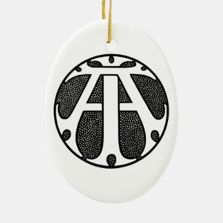AI Coin Monogram in Gothic Letters Ceramic Oval Decoration