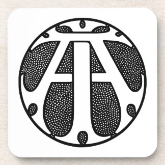 AI Coin Monogram in Gothic Letters Drink Coaster