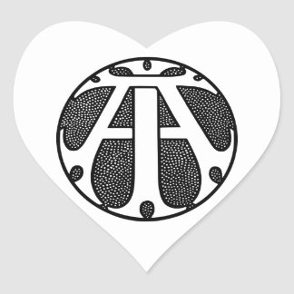 AI Coin Monogram in Gothic Letters Heart Sticker