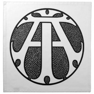 AI Coin Monogram in Gothic Letters Cloth Napkin