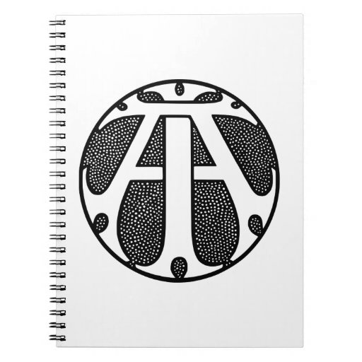 AI Coin Monogram in Gothic Letters Spiral Note Book