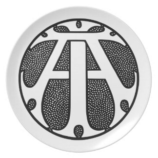 AI Coin Monogram in Gothic Letters Dinner Plates