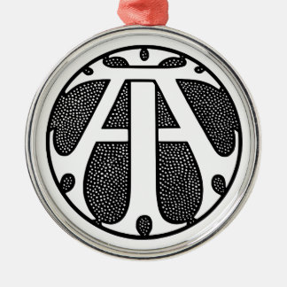 AI Coin Monogram in Gothic Letters Silver-Colored Round Decoration