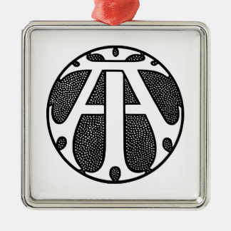AI Coin Monogram in Gothic Letters Silver-Colored Square Decoration