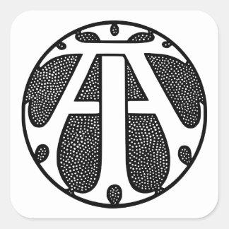 AI Coin Monogram in Gothic Letters Square Sticker