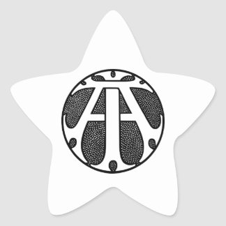 AI Coin Monogram in Gothic Letters Star Sticker