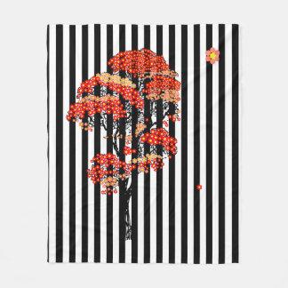 AI Flowers Tree on Black and White Vertical Stripe Fleece Blanket