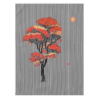 AI Flowers Tree on Black and White Vertical Stripe Tablecloth
