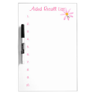Aided Recall List-Numbered+Flower/Dragonfly Dry Erase Board