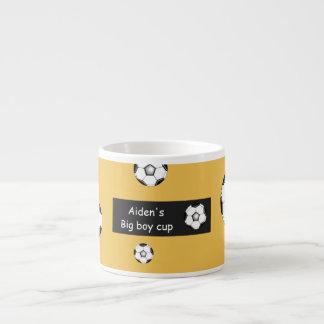 Aiden's big boy soccer cup espresso mugs