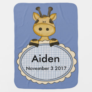Aiden's Personalized Giraffe Baby Blanket