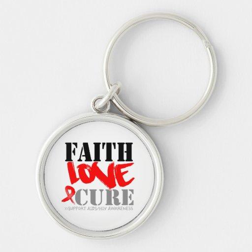 AIDS Faith Love Cure Keychain