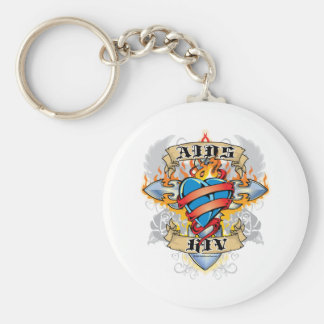 AIDS/HIV Cross & Heart Basic Round Button Key Ring