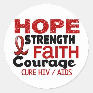 AIDS HIV HOPE 3 ROUND STICKER