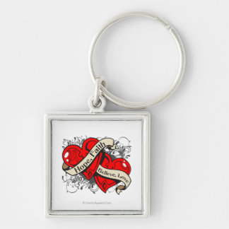AIDS HIV Hope Faith Dual Hearts Silver-Colored Square Key Ring