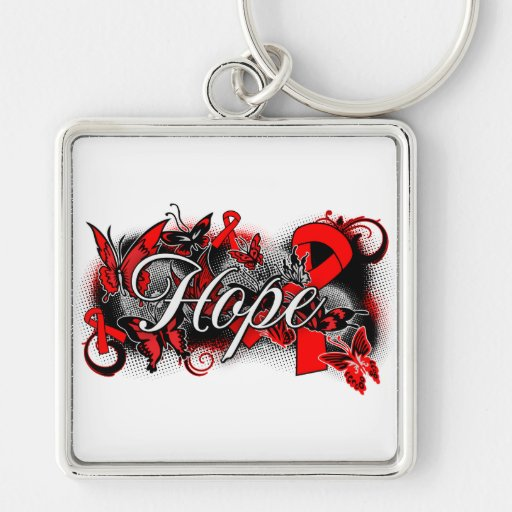 AIDS HIV Hope Garden Ribbon Key Chains