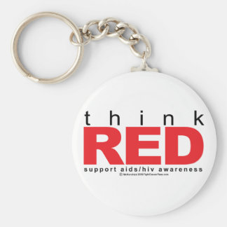 AIDS/HIV Think Red Basic Round Button Key Ring